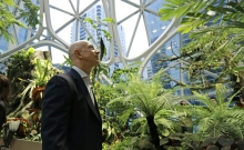 Jeff Bezos at the launch of Amazon Spheres last week (Credit: AP)