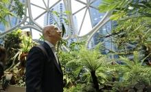 Jeff Bezos at the launch of Amazon Spheres last week (Credit: AP)