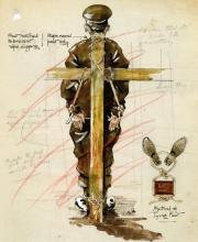 Field Punishment No. 1, as depicted in a contemporary War Office illustration.