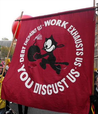 Banner from 30 November strike and march, London, 2011